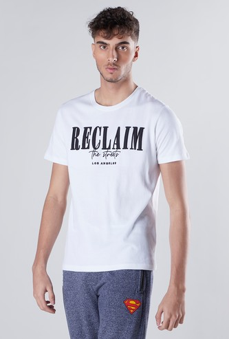 Slim Fit Textured Round Neck T-shirt with Short Sleeves