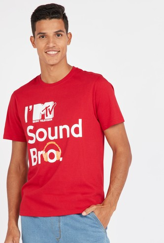 MTV Print Round Neck T-shirt with Short Sleeves