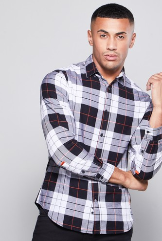Slim Fit Checked Shirt with Long Sleeves