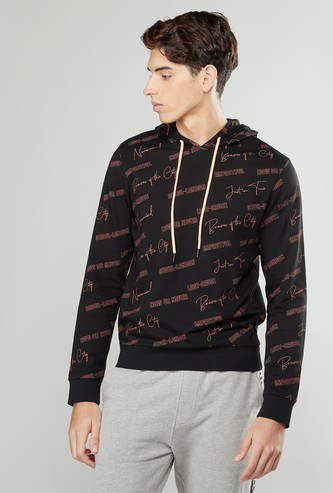 Printed Hooded Sweatshirt with Long Sleeves