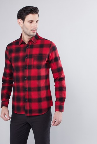 Checked Shirt with Long Sleeves and Patch Pocket