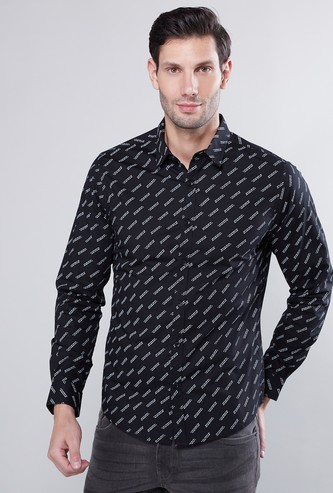 Slogan Print Collared Shirt with Long Sleeves