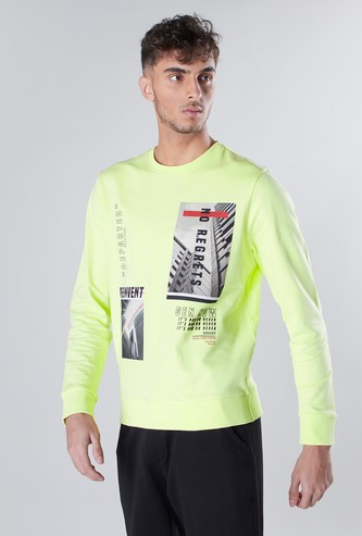 Graphic Printed Sweatshirt with Ribbed Hems