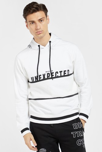 Slogan Print Hoodie with Long Sleeves and Drawstring Closure