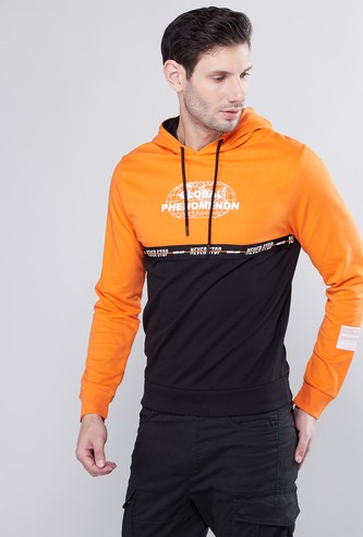 Colourblock Hoodie with Long Sleeves and Ribbed Hems