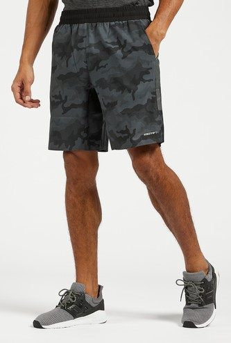 Camouflage Print Activewear Shorts with Pockets and Drawstring