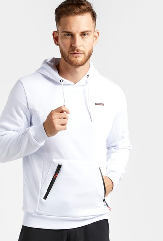 Solid Hoodie with Long Sleeves and Pockets
