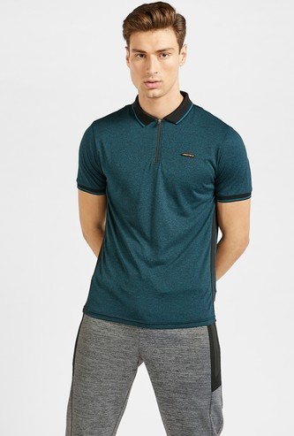 Solid Performance Polo T-shirt with Panel Detail and Zip Closure