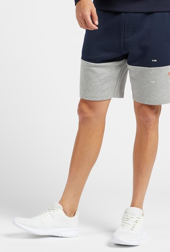 Panel Blocked Shorts with Pocket Detail and Drawstring Closure