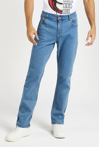 Solid Mid-Rise Full Length Jeans with Button Closure and Pockets