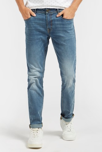 Solid Full Length Mid Rise Denim Jeans with Pockets and Button Closure