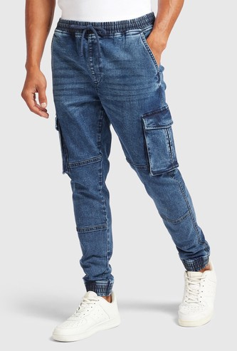 Slim Fit Solid Cargo Denim Jog Pants with Pockets and Drawstring