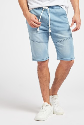 Slim Fit Solid Mid-Rise Denim Shorts with Drawstring Closure