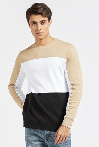 Panel Detail Sweatshirt with Round Neck and Long Sleeves