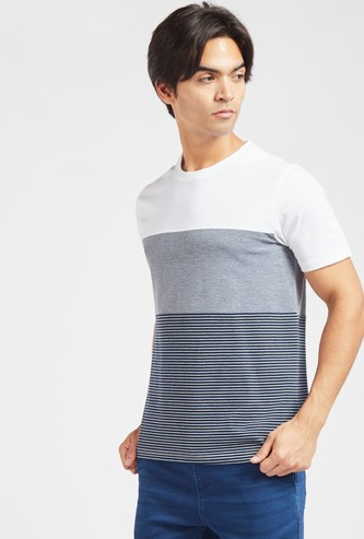 Stripes T-shirt with Round Neck and Short Sleeves