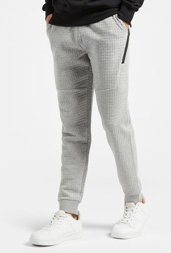 Quilted Jog Pants with Pocket Detail and Elasticised Waistband