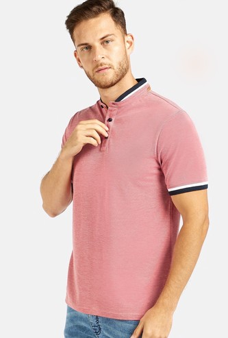Textured Henley Neck T-shirt with Mandarin Collar and Short Sleeves