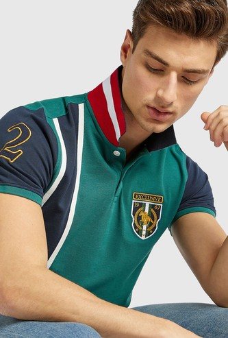 Embroidered Polo T-shirt with Vertical Panel Detail and Short Sleeves