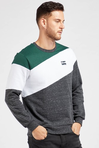 Colourblocked Round Neck Sweatshirt with Long Sleeves