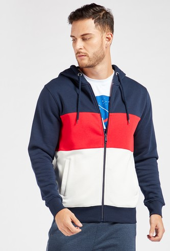 Panelled Hoodie with Zip Closure and Pockets