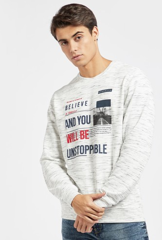 Printed Injected Sweatshirt with Round Neck and Long Sleeves