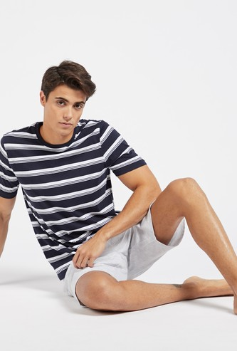 Striped Short Sleeves T-shirt and Solid Shorts Set