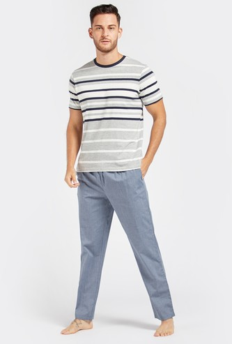 Striped Round Neck T-shirt and Solid Pyjama Set