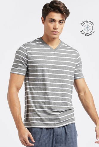 Striped T-hirt with V-neck and Short Sleeves