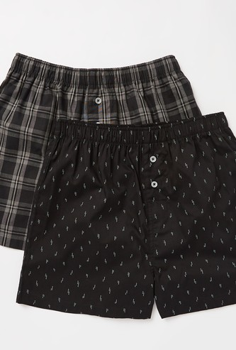 Set of 2 - Printed Boxer Shorts with Elasticated Waistband