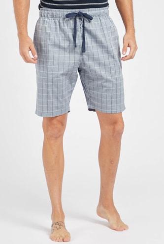 Checked Shorts with Pocket Detail and Drawstring Closure
