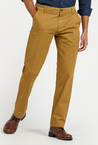 Full Length Solid Chinos with Pocket Detail and Belt Loops