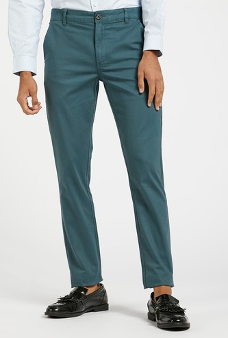 Solid Chinos with Pocket Detail and Belt Loops