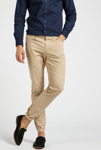 Solid Full Length Chino Pants with Zip Closure and Pockets