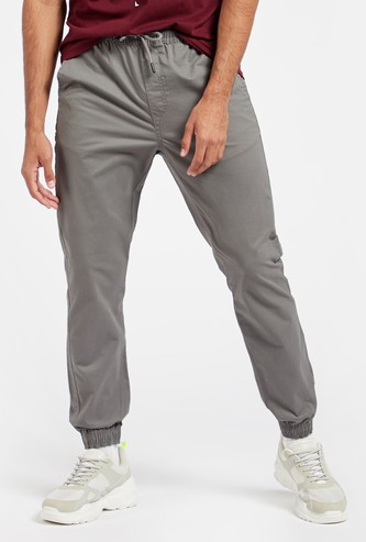 Solid Joggers with Pockets and Elasticated Drawstring Waistband