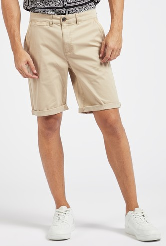 Solid Shorts with Pocket Detail and Belt Loops