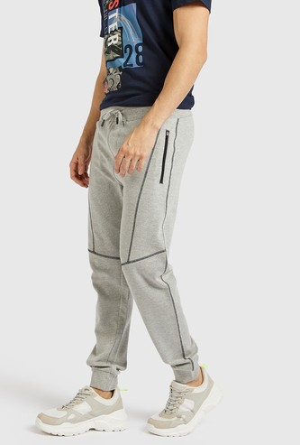 Solid Mid-Rise Cuffed Joggers with Drawstring Closure