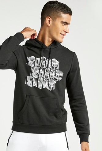 Graphic Print Hoodie with Long Sleeves and Kangaroo Pockets