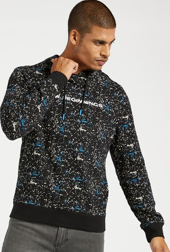 Slim Fit All-Over Print Hoodie with Long Sleeves