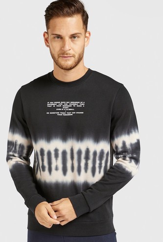 Slim Fit Printed Tie-Dye Oversized Sweatshirt with Long Sleeves