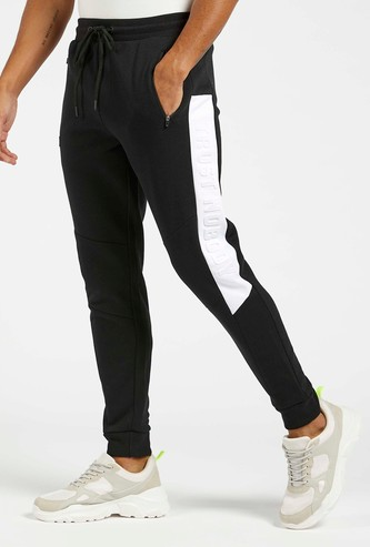 Slim Fit Embossed Print Side Panel Jog Pants with Drawstring