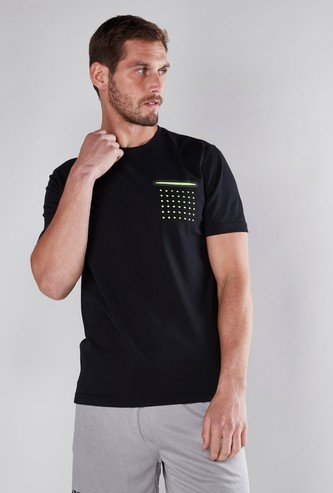 Laser Cut Pocket Detail T-Shirt with Short Sleeves