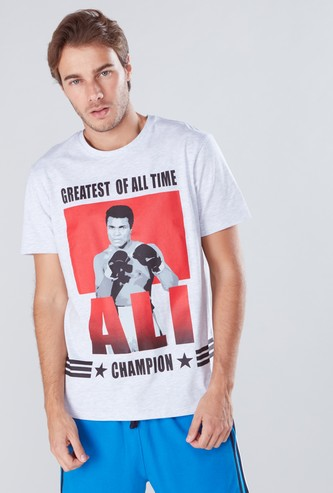 Muhammad Ali Graphic Printed T-Shirt with Short Sleeves