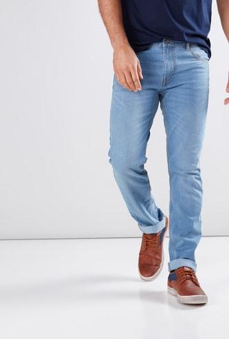 بنطال جينز سليم فيت طويل بجيوب