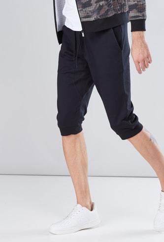 Pocket Detail 3/4 Jog Pants with Elasticied Waistband and Drawstring