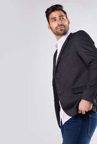 Textured Blazer with Elbow Patch and Pocket Detail