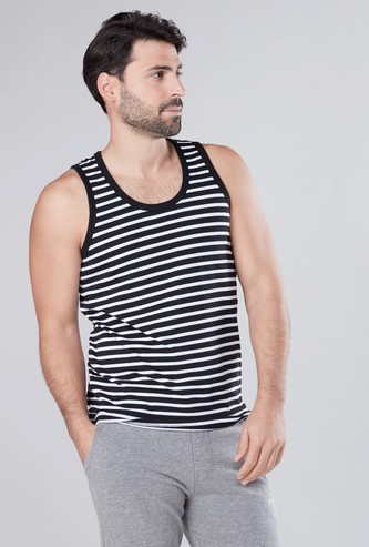 Striped Sleeveless Vest with Scoop Neck