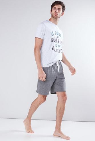 Printed T-Shirt with Pocket Detail Shorts