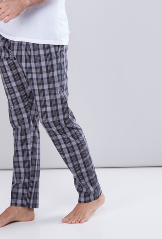 Chequered Lounge Pants with Pocket Detail and Elasticised Waistband