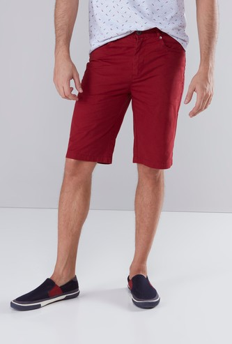 Solid Shorts with 5 Pockets and Button Closure