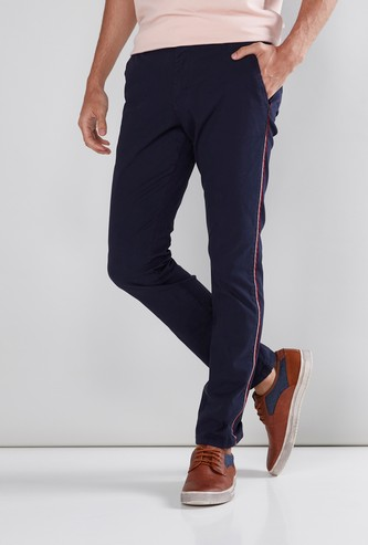 Full Length Chinos in Slim Fit with Tape Detail and Belt Loops